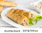 bread cones filled with...   Shutterstock . vector #597879914