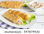 filled whole wheat bread cones...   Shutterstock . vector #597879920