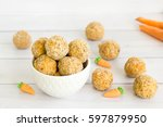 carrot cake flavored raw ... | Shutterstock . vector #597879950