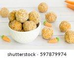 walnut carrot cake energy balls | Shutterstock . vector #597879974
