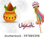 ugadi celebration poster or... | Shutterstock .eps vector #597885398