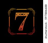 decorative number 7 with... | Shutterstock .eps vector #597886688