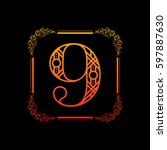 decorative number 9 with... | Shutterstock .eps vector #597887630