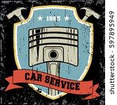 vintage car repair service logo ... | Shutterstock .eps vector #597895949