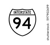interstate highway 94 road sign ... | Shutterstock .eps vector #597902699