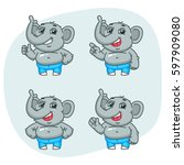 elephant shows and indicates... | Shutterstock .eps vector #597909080