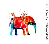 colorful elephant with... | Shutterstock .eps vector #597921110