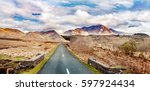 landscape with road and... | Shutterstock . vector #597924434