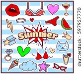 chic fashion summer patch... | Shutterstock .eps vector #597927770