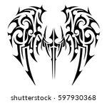 tribal wings tattoo shape | Shutterstock .eps vector #597930368