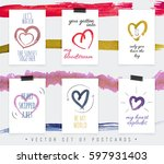 postcards with beautiful hearts ... | Shutterstock .eps vector #597931403