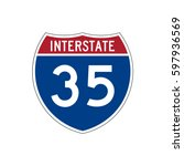interstate highway 35 road sign  | Shutterstock .eps vector #597936569