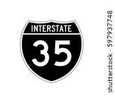 interstate highway 35 road sign ... | Shutterstock .eps vector #597937748