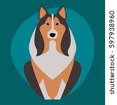 funny cartoon dog character... | Shutterstock .eps vector #597938960