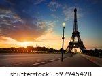 cloudy sunrise in paris over... | Shutterstock . vector #597945428