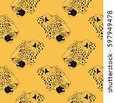 leopard face tattoo  vector...   Shutterstock .eps vector #597949478