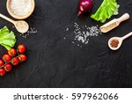 Ingredients For Paella On Dark...