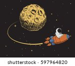 astronaut come back after... | Shutterstock .eps vector #597964820