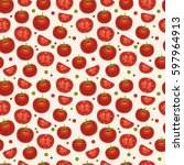 seamless pattern with tomatoes | Shutterstock .eps vector #597964913