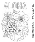 aloha coloring book page with... | Shutterstock .eps vector #597966416