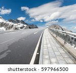 snowy road under freezing blue...   Shutterstock . vector #597966500