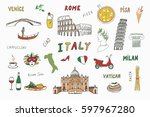 italy travel doodle set with... | Shutterstock .eps vector #597967280
