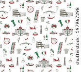 italy travel doodle pattern... | Shutterstock .eps vector #597967298