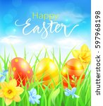 easter card with easter eggs in ... | Shutterstock .eps vector #597968198