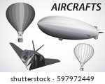 airship  aircraft  stealth and... | Shutterstock .eps vector #597972449