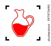 amphora sign. vector. red icon...