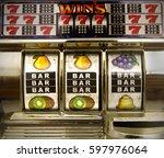 vintage toy slot machine  | Shutterstock . vector #597976064