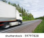 white truck speeding on country ... | Shutterstock . vector #59797828