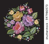 embroidery colorful trend... | Shutterstock .eps vector #597980573