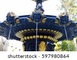 Golden Water Fountain. Fountai...