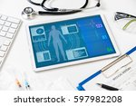 Stock photo vital signs in tablet screen medical technology concept various medical equipments 597982208