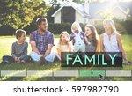 family happiness memorable... | Shutterstock . vector #597982790
