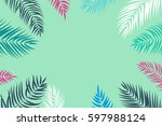 beautifil palm tree leaf ... | Shutterstock .eps vector #597988124
