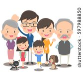 fun family illustration | Shutterstock .eps vector #597988850