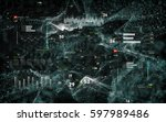 cyber security background with... | Shutterstock . vector #597989486