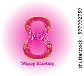 8 th anniversary. happy... | Shutterstock .eps vector #597992759