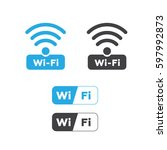 wireless and wifi icons.... | Shutterstock .eps vector #597992873