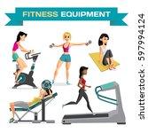 set of women engaged in... | Shutterstock .eps vector #597994124