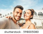 beautiful young couple taking a ... | Shutterstock . vector #598005080