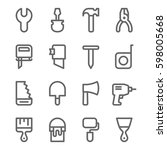 linear web icons set of tools.... | Shutterstock .eps vector #598005668