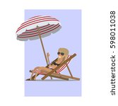 girl in a swimsuit with a...   Shutterstock .eps vector #598011038