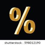 golden 3d percent symbol vector ... | Shutterstock .eps vector #598012190