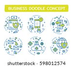 doodle vector illustrations of... | Shutterstock .eps vector #598012574