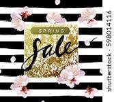 """spring sale"" hand written... | Shutterstock . vector #598014116"