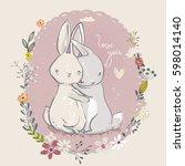 Cute Little Cartoon Hares With...