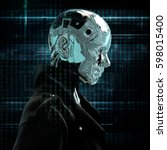 cyborg the girl in a raincoat.... | Shutterstock . vector #598015400